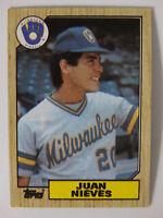 1987 Topps Juan Nieves Milwaukee Brewers Wrong Back Error Baseball Card