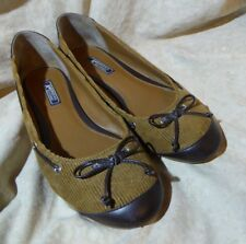 👠 American Living Ballet Flats size 9 M Brown Tan Two Tone w/ Boat Shoe Lacing