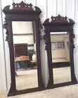 Pier Mirrors: Pr ( Gentleman and Lady) Victorian Walnut/burl, Storks,c 1880s,VGC