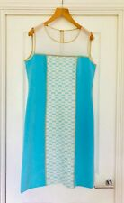 Marie me'ro turquoise dress with gold and white detailing and matching jacket