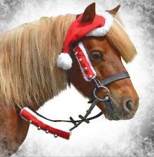 Horse Pony Santa Christmas Bridle Rein Covers Sleeves Jingle Bells Fur Festive