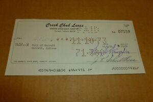 CREEK CHUB BAIT CO. VINTAGE CANCELED CHECK PAID TO THE CITY OF GARRETT 11/5/73