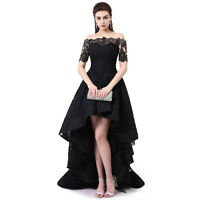 Black Formal Evening Dresses Party Prom Gowns Off-Shoulder Short Sleeve High Low