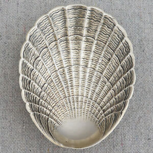Antique 19th C Austrian 800 Silver Seashell Clam Oyster Shell Salt Cellar Dish