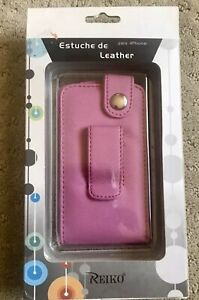 REIKO - Leather Case for Apple 1st Generation IPhone 2G (A1203). Color: Pink #1