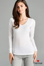 Women V-Neck THERMAL Long Sleeve Top T-shirt Layering Tee Light Sweater T2100-L