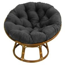 "Papasan Chair Frame With Cushion 42"" Rattan Wicker Saucer Black Micro Suede"