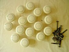 A LOT OF 16 WHITE WITH GREY DOOR OR DRAW KNOBS