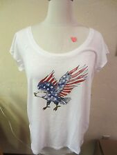 "Lucky Women's Sz XL T-Shirt 7WD8903 ""American Eagle"" White/Red/Blue $49.50 NWT"
