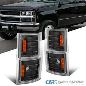 For 94-98 Chevy C10 C/K Silverado Black Turn Signal Lights Corner Lamps Pair