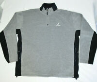 Nautica 1/4 Zip Pullover Fleece Jacket Sweatshirt Long Sleeve Gray Black Mens XL