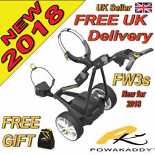 New 2018 Powakaddy FW3s Black Electric Golf Trolley 18 Hole Battery and Charger