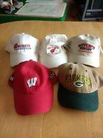 Men's Wisconsin Badger Green Bay Packer Hats Lot of 5