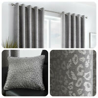 Curtina LEOPARD Graphite Animal Spotted Lined Eyelet Curtains & Cushions