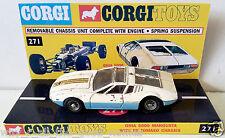 1960's Vintage CORGI 271 GHIA 5000 MANGUSTA Diecast Model & Custom Display Stand