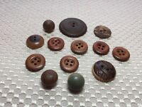 Vintage Wood Buttons in Both Ball Shapes and Sew Throughs-13