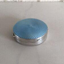 VINTAGE DECO 1931 SOLID SILVER BLUE GUILLOCHE ENAMEL TRINKET PIN BOX WALKER HALL