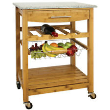 Robert Dyas Granite Top Kitchen Trolley, Wooden Serving Cart w/ Solid Stone Top