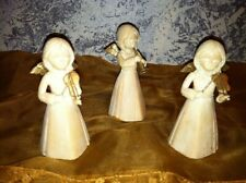Vintage angel trio set of 3 musical violin trumpet Hong Kong plastic ivory gold