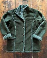 LL Bean Womens Jacket Coat Faux Suede Shearling Sherpa Lined Olive Green Sz L