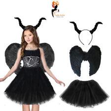 Girls Halloween Black Devil Fairy Feather Wings Party Horn Fancy Dress Costume