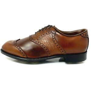 New NOS Vtg Bostonian Wingtip Metal Spike Golf Shoes Oxfords Mens Sz 9.5 M Brown