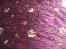 EMBROIDERED SILK TAFFETA, PLUM, GARNET, GOLD, PURPLE, BY THE YARD