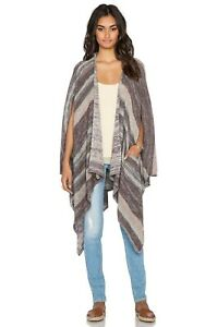 FREE PEOPLE The Big Trail Poncho Cardigan Neutral Combo Large NEW WITH TAG
