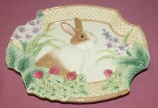 """Vintage Fitz and Floyd Essentials Botanical Bunny Canape Plate 8x10"""" In Box"""