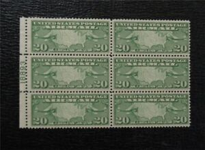 nystamps US Air Mail Plate Block #C9 Mint OG H(1)/NH P# Block Of 6 $70 M14x1136