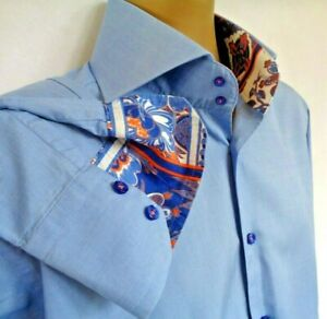 """IMMACULATE CURTIS MENS BLUE CONTRAST INNER CUFF & COLLAR LARGE SHIRT P2P 24"""""""
