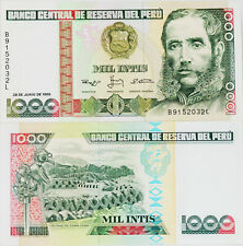 PERU 1000 Intis Banknote World Paper Money UNC Currency Pick p136b Bill Note