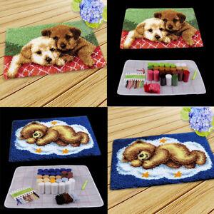 2 Set Knüpfteppich Formteppich Hund Bär für Kinder und Erwachsene zum