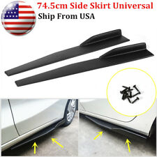 Pair 74.5cm Car Carbon Fiber Side Skirt Rocker Splitters Diffuser Winglet Wings