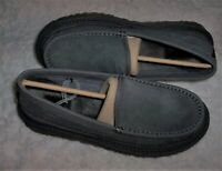 UGG Dex Water Resistant Suede Slippers/Moccasin Men's 8 Dark Gray Wool Lining