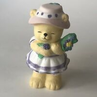 Vintage BC Bronson Teddy Bear Figurine Porcelain Bisque Yellow Southern Flowers