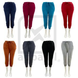 Ladies Tracksuit Bottoms Womens Capri 3/4 Trousers Jogging Gym Pants Lounge Wear