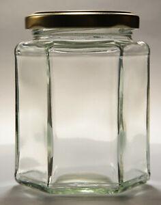 12oz HEXAGONAL GLASS JAM JAR & GOLD, POP-UP BUTTON, OR HONEYCOMB LIDS  -  QTY 90
