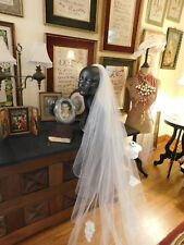 Gorgeous Vintage Silk Cathedral Length Off-White Crystal Trimmed Veil