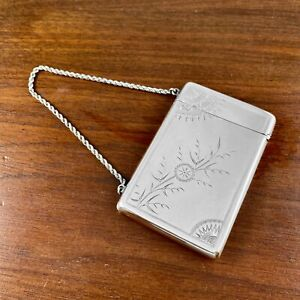 AMERICAN AESTHETIC STERLING SILVER CARD CASE SATIN FINISH W/ CHAIN - NO MONOGRAM