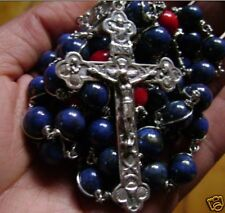Sterling Silver Rosary Wire Wrapped Lapis lazuli Beads crucifix necklace cross