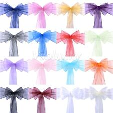 50pcs Organza Sheer Chair Sashes Bows Wedding Party Cover Banquet Decorations