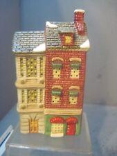 GENARIC SNOW VILLAGE CERAMIC MINIATURE FEDERAL STYLE ROW HOUSE