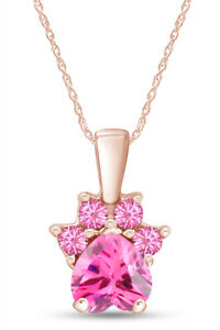 "Pink Tourmaline Dog Paw Pendant Necklace 14K Rose Gold Over Sterling 18"""
