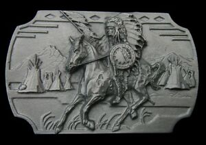 SIOUX WAR CHIEF CRAZY HORSE BELT BUCKLE SISKIYOU PEWTER NEW!