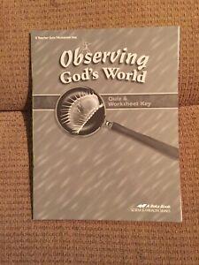 Observing God's World Abeka Quiz & Worksheet Key 2014 Christian Homeschool Book