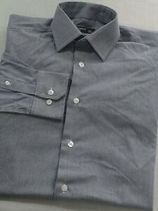 Cedar Wood State Men's Banker Stripe Shirt Long Sleeve Blue & White Collar 14.5