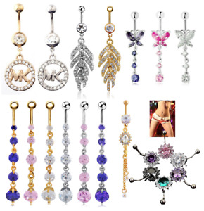 Belly Bars Crystal Clear CZ Five Round Gem Navel Bar Ring 316L Surgical Steel