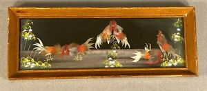 Vintage Mexican Folk Art Feather craft Cockfight Hand Made  Wooden Framed