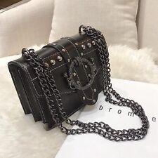 Rivet Lock Chain Shoulder Messenger Bag Handbag